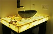 Golden Solid Surface Artificial Onyx Bath Top,Vanity Top,Engineered Stone Alabaster Tile for Bathroom Design Countertops,Transtones Customized