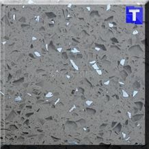 Grey Crystal with White Mirror Glass Quartz Stone Tiles,Slabs,Engineered Stone Solid Surface Granite Look Quartz Sheet Stone Walling Panel for Kitchen Countertops,Vanity Tops