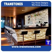 Hot Sale Coffee Brown Spray White Artifical 3d Waterjet Alabaster Kitchen Tops,Reception Desk,Engineered Glass Stone Beige Worktop,Table Bench Top,Checkout Counter Tops