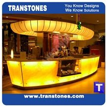 Hotel Project-Artificial Honey Onyx Translucent Backlit Kitchen Countertop,Islands Top,Solid Surface Manmade Engineered Stone Worktop,Reception Tops,Transtones Customized