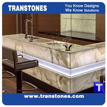 Ice White Onice Onyx Translucent Backlit Bar Tops,Binaco Artificial Onyx Club Kitchen Tops,Engineered Stone Alabaster Panel for Tabletop, Solid Surface Panel Glass Stone,Transtones Customized