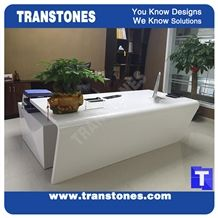 Modern Style Design L Shaped White Artificial Marble Stone Ceo Office Working Desk,Manmade Stone Table Sets,White Solid Surface Glass Stone Furniture,Transtones Customized