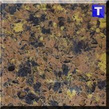 Orange Brown Crystal Dark Quartz Stone Tiles,Slabs,Engineered Stone Solid Surface Granite Look Quartz Sheet Stone Walling Panel for Kitchen Countertops,Vanity Tops