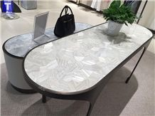 Project Show-White Artificial Stone Seashell Pearl Mosaic Table Sets, 3d Building Ornaments,Solid Surface Engineered Stone New Material Desk from Transtones Customzied