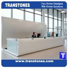 Project Show White Quartz Stone Reception Tops,Binaco Artificial Marble Counter Tops,Engineered Stone Panel for Desk, Solid Surface Panel Glass Stone Bench Counter Interior Stone Furniture,Transtones