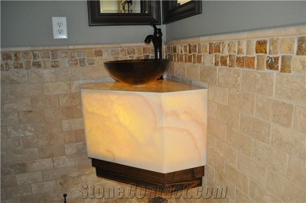 Solid Surface Artificial Onyx Tiles Slabs For Bath Top