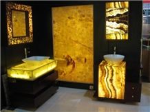 Solid Surface Artificial Yellow Onyx Tiles Slabs for Bath Top,Vanity Top,Engineered Stone Alabaster Tile for Walling Panel,Transtones Customized Bath Countertops