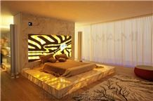 Solid Surface Beige Artificial Onyx for Bed Surround Decor, Translucent Backlit Magical Dream Engineered Glass Alabaster Waterjet Stone Furniture, Transtones Customzied