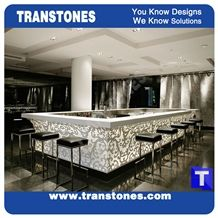 Solid Surface Quartz Artifical 3d Carved Relief Alabaster Kitchen Bar Tops,Reception Desk,Engineered Glass Stone Club Worktop,Table Bench Top,Interior Furniture Manufacture