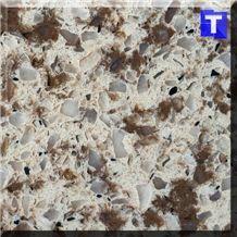 White Crystal Dark Brown Quartz Stone Tiles,Slabs,Engineered Stone Solid Surface Granite Look Quartz Sheet Stone Walling Panel for Kitchen Countertops,Vanity Tops