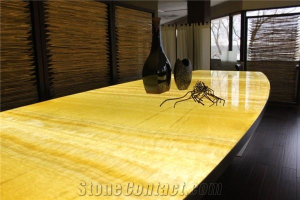 Yellow Orange Artifical Alabaster Club Bar Tops Reception Desk Engineered Gl Stone Beige Onyx Worktop Honey Table Top Islands