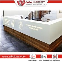 High Quality Best Belling Selling One Person Solid Surface Stone Reception Desk for Medical Use