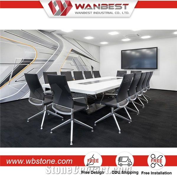 Marble Top Quartz Stone Conference Table With Stainless Steel Base - Marble conference table for sale