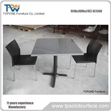 Factory Supplier Acrylic Solid Surface Fast Food Four Seats Dinning Table and Chairs Set for Sale,Artificial Marble Stone Restaurant Tables Tops and Chairs/Interior Stone Round Coffee Tables