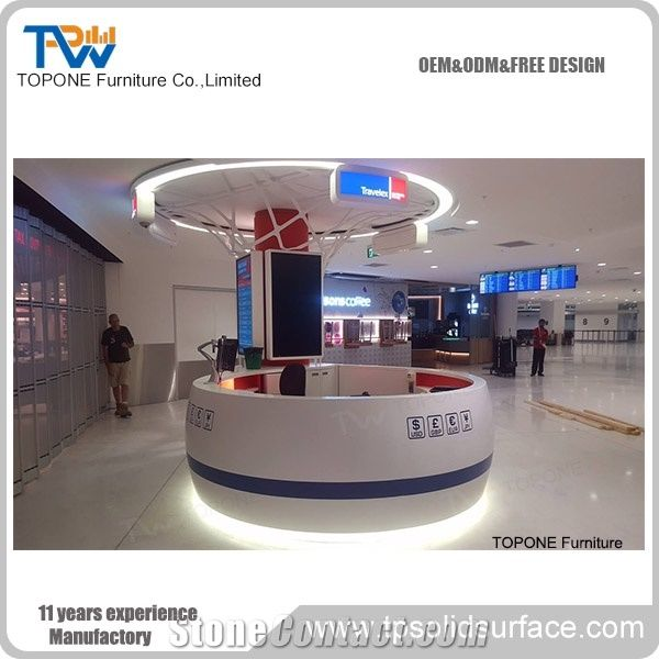 Design Bank Sale.High Quality Round Acrylic Solid Surface Bank Reception Counter