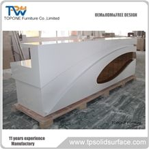 Led Acrylic Solid Surface Reception Desk Tops for Hotel/Customized Design Modern Front Office Desk, Factory Supply Interior Stone Reception Counter Top Furniture with Artificial Marble Stone Desk Tops