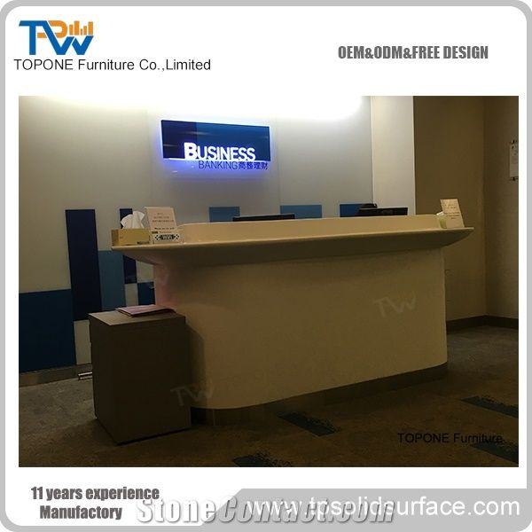Design Bank Sale.White Acrylic Solid Surface Artificial Marble Stone Bank Front