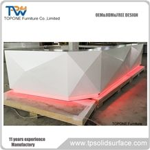 White Acrylic Solid Surface Diamond Design Reception Desk Tops Design/Artificial Marble Interior Stone Reception Counter Tops Design