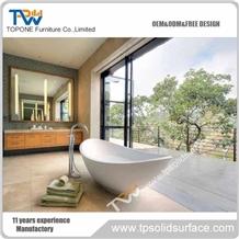 White Acrylic Solid Surface Oval Design Bathroom Resin Bath Tub
