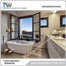 White Color Acrylic Solid Surface Bathroom Bathtub with Artificial Marble Stone