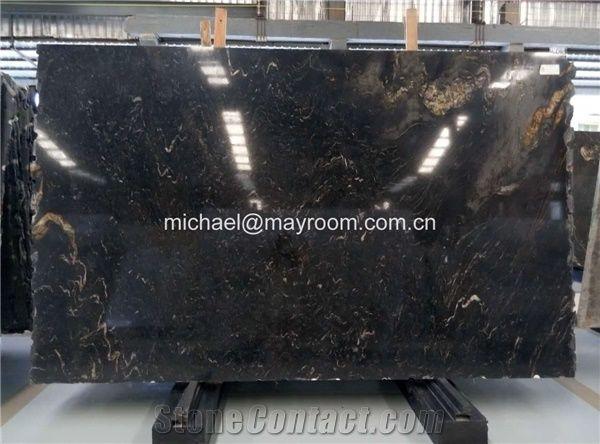 Own Factory Good Price Brazil Polished Matrix Titanium/ Cosmic Black