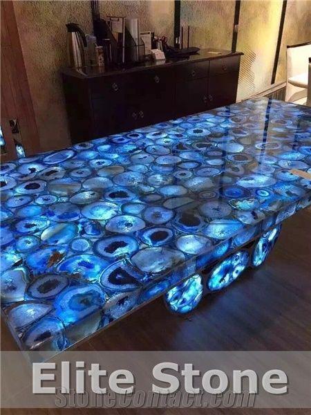 Translucent Blue Gemstone Slabs Countertops Agate Semiprecious Stone