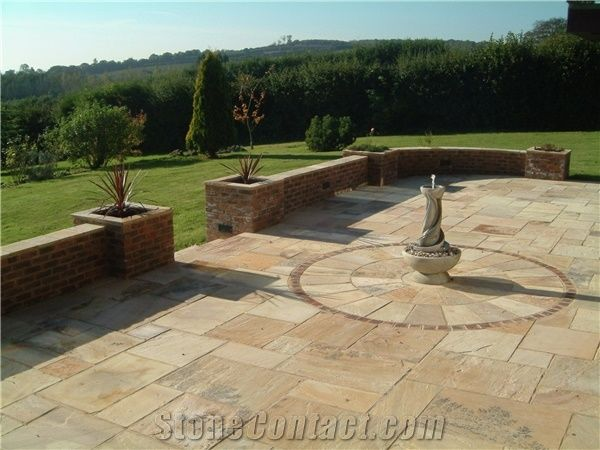 Mint Fossil Patio Paving Circles