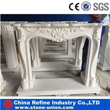 White Marble Fireplace Carving Stone, Fireplace in Hot Market, Sculpture Fireplaces,Hand Carved Craft Pure White Marble Decorated Fireplace Mantel Surround Design Insert,High Quality Western Fireplace