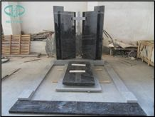Black Granite Headstone, Hebei Black Granite Monument & Tombstone,Russia Popular Style Granite Tombstone Sculptured Statue,Hand Carving for Outdoor & Garden
