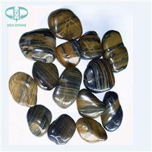 Polished Tiger Skin Pebbles Yellow Pebble Stone