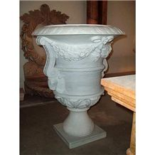 China White Marble Flower Pots ,Flower Stand Outdoor Planters Vase for Garden