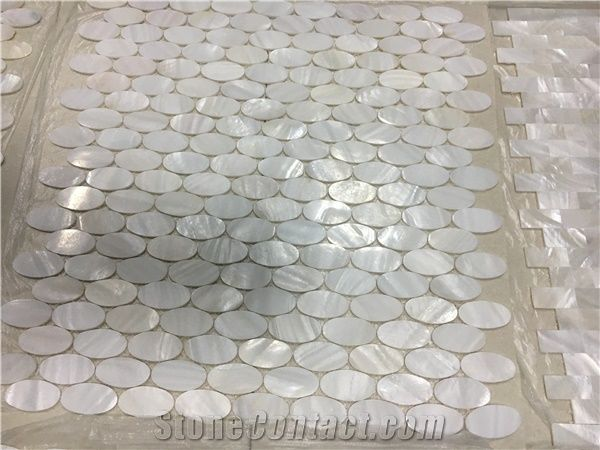 Pure White Mother Of Pearl Floor Mosaic Oval Chipped