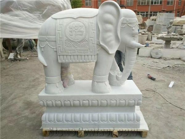 White Marble Elephant Garden Sculpture,Handcarving Outdoor Animal Statues