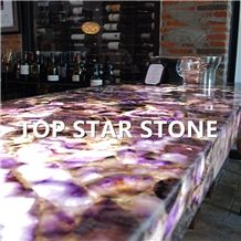 Backlit Luxurious Natural Stone Purple Amethyst Gemstone Agate Stone for Bar Tops