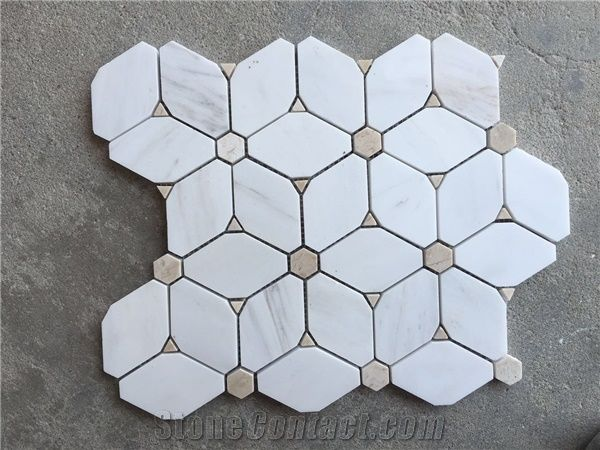 White Marble Mosaic Mosaic Mosaic Bathroom Tiles Floor Mosaic - Diamond shaped tile flooring