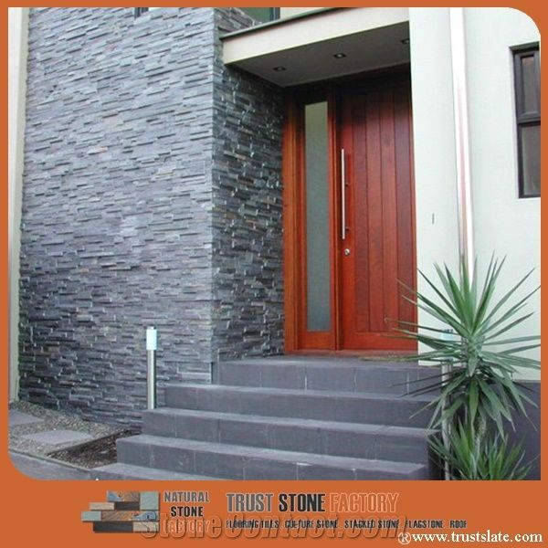 Blue Slate Stacked Stone Cultured Wall Covering Panel Veneer Fireplace Ledge