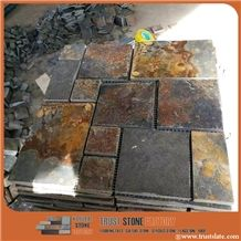 Copper Brown Slate French Pattern Wall Covering Tiles