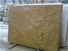 Chinese Yellow Landscape Pattern Sandstone Slab