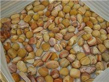 Yellow Wood Sandstone Pebble, Striped Pebbles, River Stone