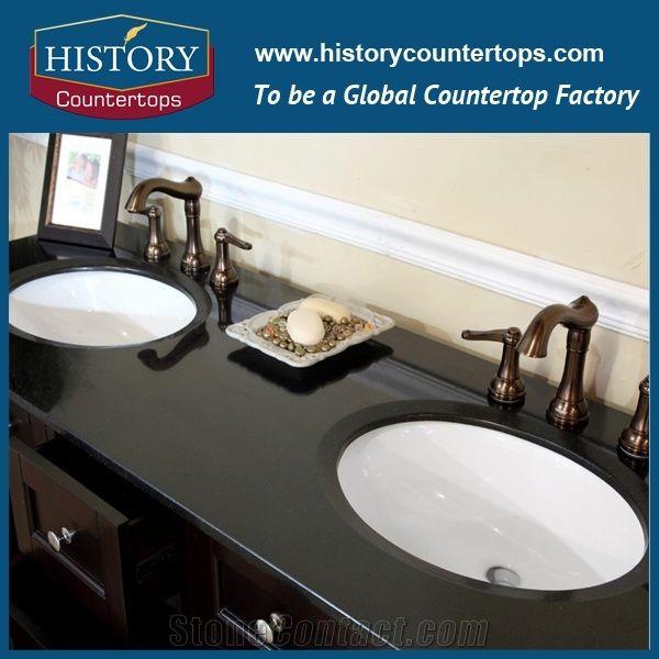Black Galaxy Granite Bath Tops Black Color Natural Granite Building Material Stone Bathroom Tops Bathroom Countertops Black Granite Surface Bathroom Vanity Countertops Custom Vnaity Tops For Sales From China Stonecontact Com