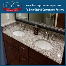 China Tiger Skin White Vanity Tops with Single and Double Sinks for Sales, Bathroom Tops Polished Surface Double Sink Vanity Top