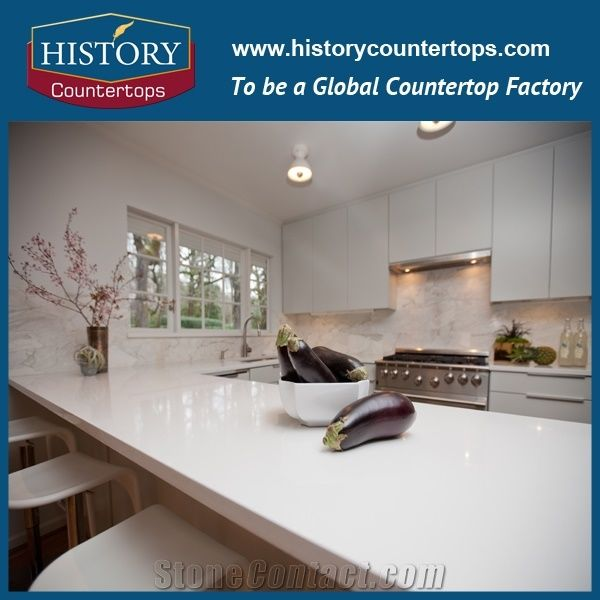 Pure White Quartz Countertops Polished Surface For Sales, Best Selling  Kitchen Tops Colors With Customized Edges For Multi Family Projects