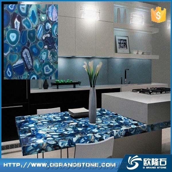 Prefab Semi Precious Stone Blue Agate Kitchen Countertop