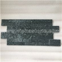 China Black Quartzite Stacked Stone Veneer Feature Wall Cladding Panel Ledge Stone Split Face Mosaic Tile Landscaping Building Interior & Exterior Decor Natural Culture Stone 40x10cm Z-Shape