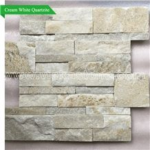 China Cream White Quartzite Stacked Stone Wall Cladding Panel Ledge Stone Split Face Tile Landscaping Interior & Exterior Culture Stone 35x18cm