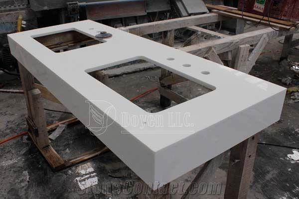 Pure White Quartz Stone Prefab Vanity