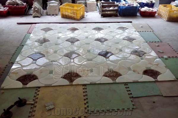 White Onyx Dark Emperador Marble Mosaic Tiles