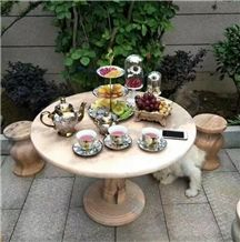 Wanxia Red Marble Garden Decoration Table Sets