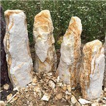 Riviera Sunshine Monolith Marble Garden & Palisade, Yellow Marble Monolith