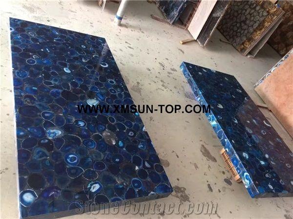 Blue Agate Semi Precious Stone Rectangle Table Tops Ocean